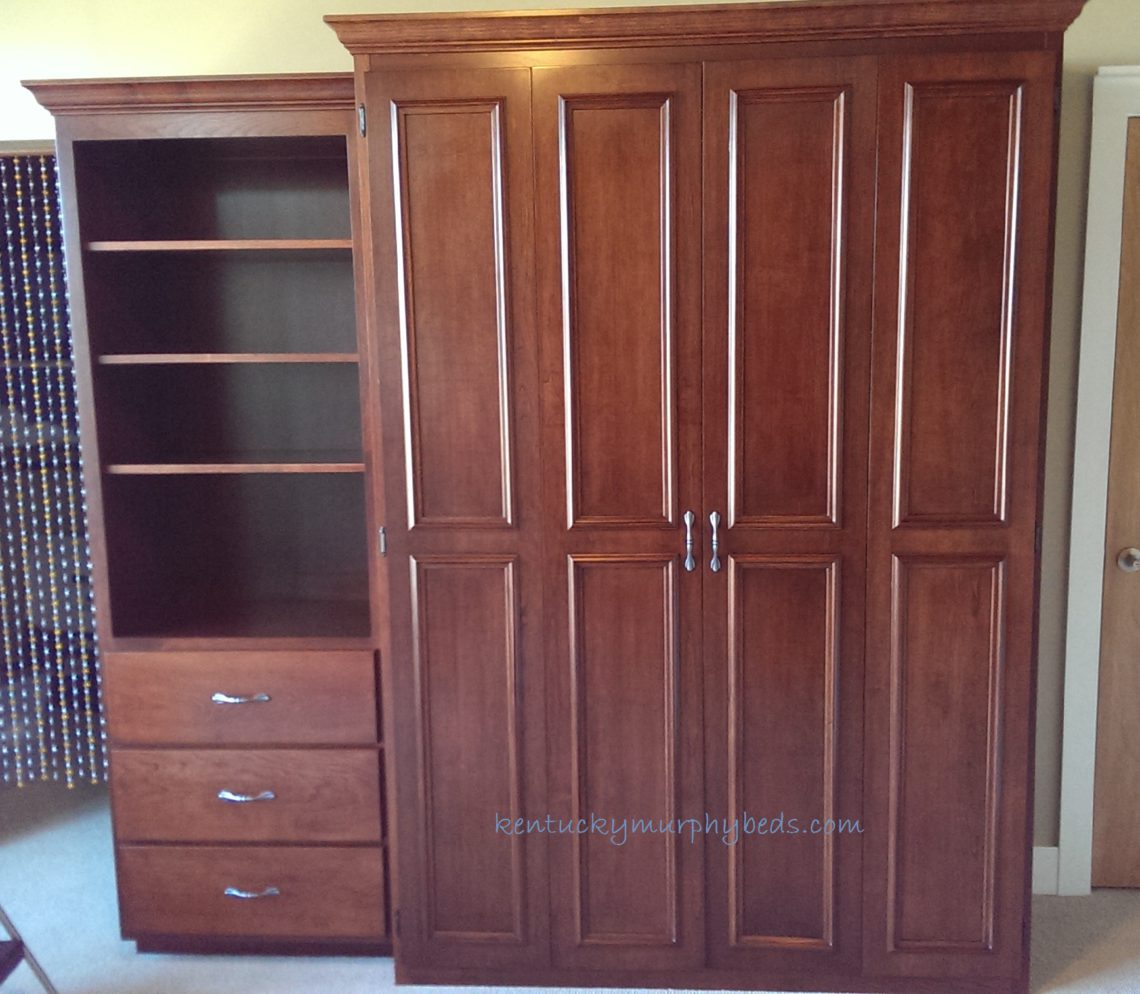 Cherry full size Murphy bed with one bookcase