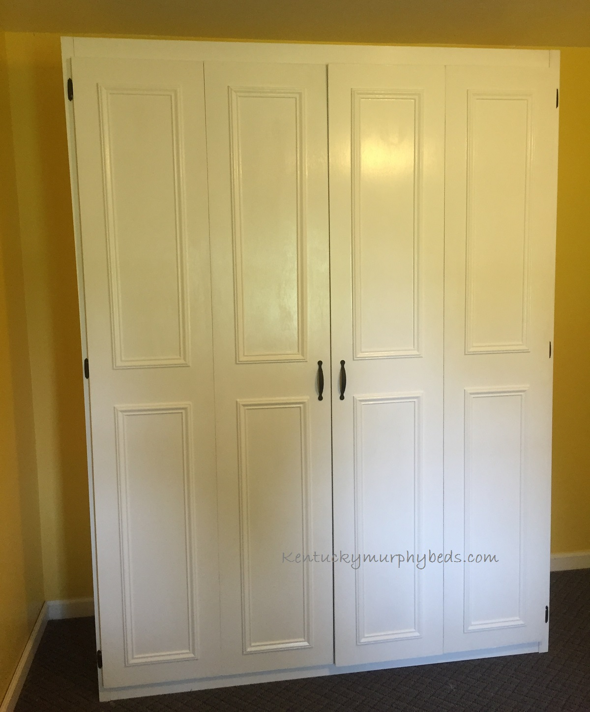 White queen size painted oak plywood bed with raised door trim