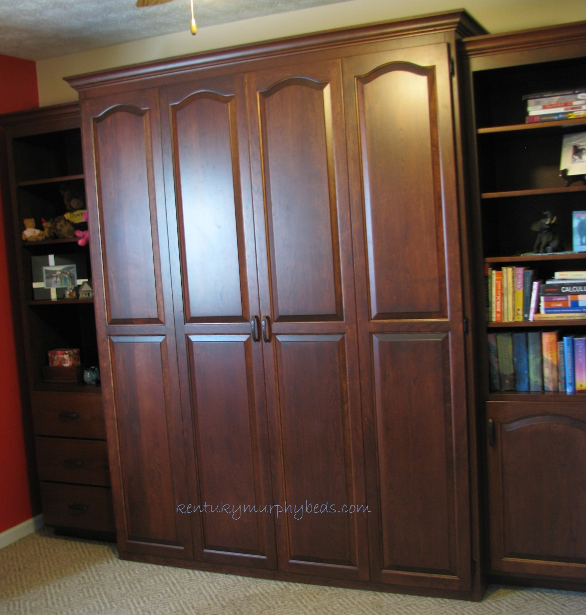 Cherry raised cathedral arch queen size Murphy bed with two accessory cabinets
