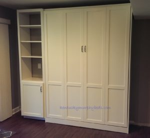 White painted MDF panel bed with one accessory bookshelf-cabinet, closed view, new design