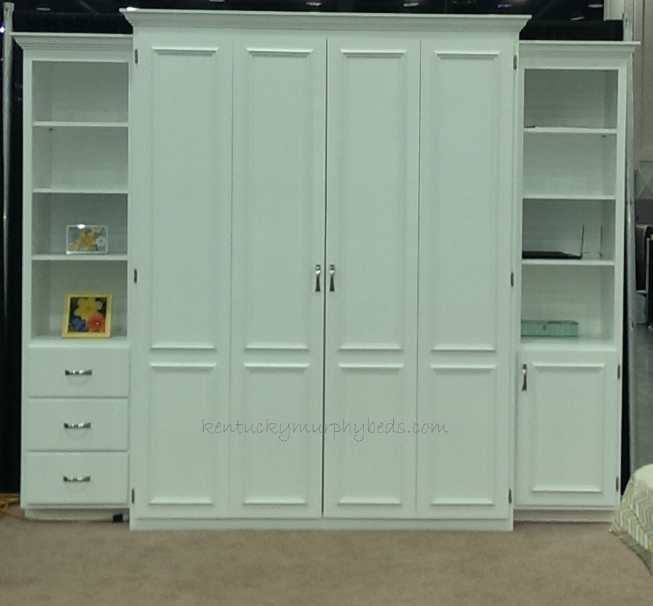 white painted maple queen size Murphy bed with two accessory cabinets