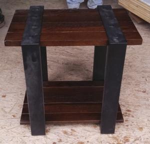 Idaho style oak and metal table