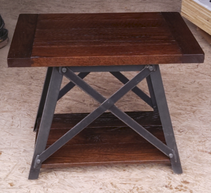 Montana style oak and metal table