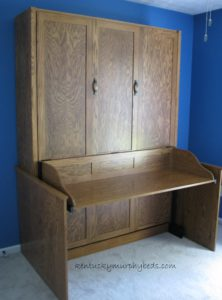 Oak Desk Panel Door Murphy Bed
